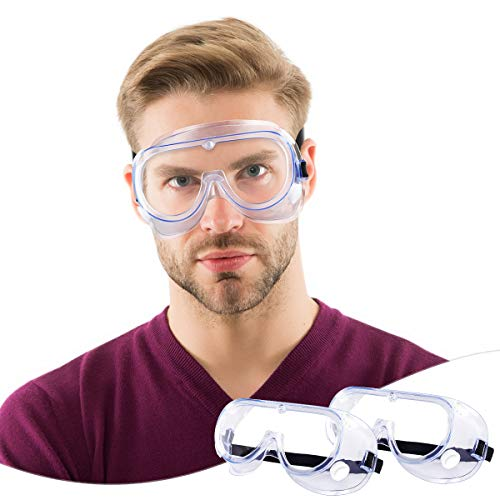 2 Pack Safety Goggles Protective Safety Glasses Soft Crystal Clear Eye Protection  Perfect for Construction Shooting Lab Work and More
