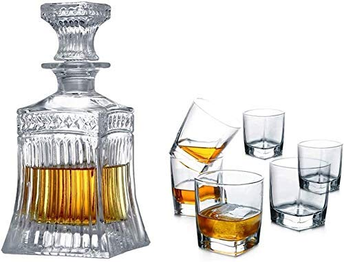 Juego de decantadores de whisky, cierre de cristal transparente de cristal de cristal (Color : A)