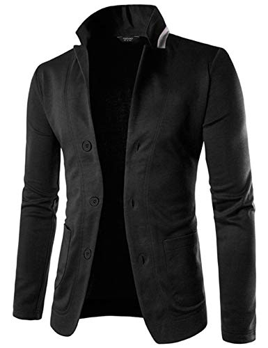 COOFANDY Mens Casual Slim Fit Blazer 3 Button Suit Sport Coat Lightweight Jacket, Black, Small