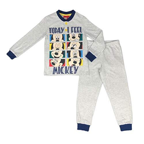 Pyjamas Long Bébé Costume Coton Disney Mickey Mouse Taille 3 A 7 Ans 0886 - Gris Melange, 3 Ans