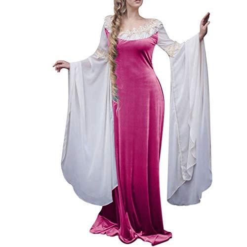 YueLove Damen Gothic Kleid Mittelalter Kostüm Bell Langarm Deluxe Robe Hexenkostüm Umhänge Vampir Viktorianischen Prinzessin Renaissance Bodenlanges Partykleid