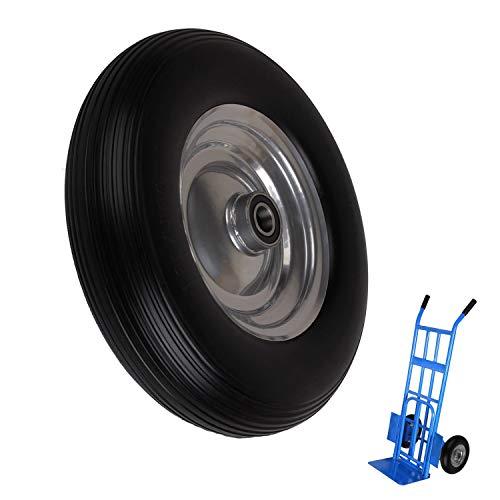 Miafamily PU en Llanta de acero 4.00 - 8 PU - Goma ruedas ruedas Rueda de carretilla carretilla rueda antipinchazos para 392 x 92 mm, carga máxima 120 kg negro, 1 pcs