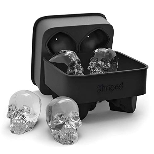 Shaped 3D Skull Ice Mold, Super Flexible Silicone Ice Cube Mold, Makes Four Giant Skulls (Black)