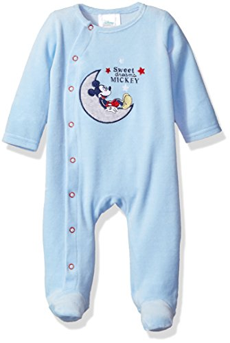 Disney Baby Boys' Mickey Mouse Velour Footie Sleeper, Blue Bell, 0-3 Months