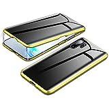 Jonwelsy Anti-Spy Cover per Samsung Galaxy Note 10+ 5G, 360 Gradi Protezione Case, Privacy Vetro Temperato Anti Peep Custodia, Adsorbimento Magnetico Bumper Metallo Frame per Note 10 Plus (Oro)