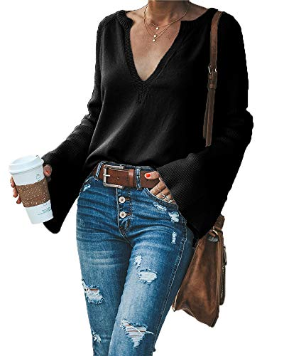 HZSONNE Women's Casual Crew Deep V Neck Kimono Bell Sleeve Loose Fit Solid Pullover Sweater Knitted Jumper Tops Knitwear Black