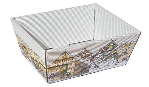 """10 cestini regalo per doni di Natale, con motivo """"mercatino di Natale"""", in cartoncino ondulato, misura piccola"""