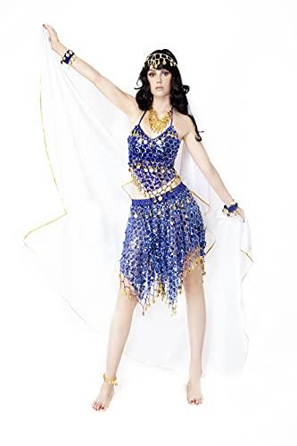 Mujer Danza del Vientre Profesional, Ropa de Baile India rabe Disfraz Carnaval Halloween, Conjunto 8 Piezas Pauelo Top de Baile y Falda Pulseras Collar Cadena en la Cabeza y a pie (Azul)