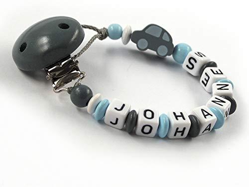 Schnullerkette mit Namen Junge Auto Stern - dunkelgrau, grau, hellblau, weiß (8 Buchstaben)