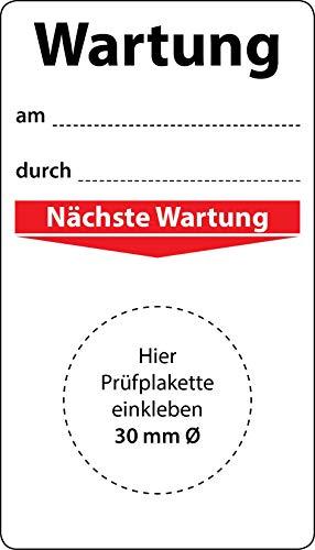 Grundplakette Wartung am durch, 100 Stück, 70 x 40 mm, Vinylfolie, selbstklebend, Wartungsetikett für Prüfplaketten