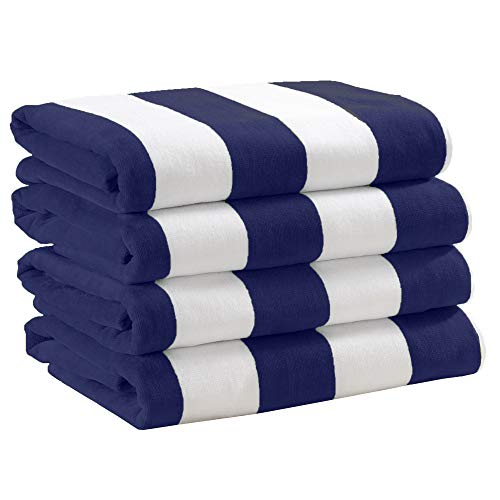 4 Pack Plush Velour 100% Cotton Beach Towels. Cabana Stripe Pool Towels for Adults. (Navy, 4 Pack- 30' x 60')