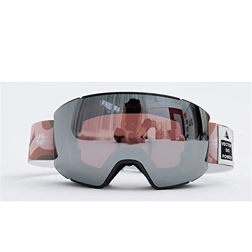 MissLi Marco Pequeño Correa De Impresión Especial Gafas De Esquí para Adultos Hombres Y Mujeres Lentes De Imán Intercambiables Gafas De Sol UV400 Espejo De Nieve Antivaho