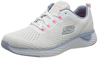 Skechers Women's Low-Top Trainers, White White Mesh Blue Pink Trim Wblp, 4 Big Kid