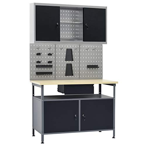 Unfade Memory Adjustable Workbench Table with 2 Storage Heavy-Duty Steel Workstation with 3 Wall Panels and 1 Cabinet