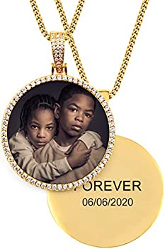 TUHE 18K Custom Photo Necklace Personalized with Memory Picture Necklace Iced Out Round Pendant Necklace with Picture for Men Women Hip Hop Necklace  Optional for Tennis/ Robe/ Cuban Chain