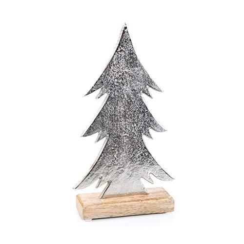 Logbuch-Verlag Weihnachtsbaum Metall Holz Tannenbaum silber glänzend Deko Figur metallic Baum Weihnachtsdeko Tischdeko Give-away Vintage