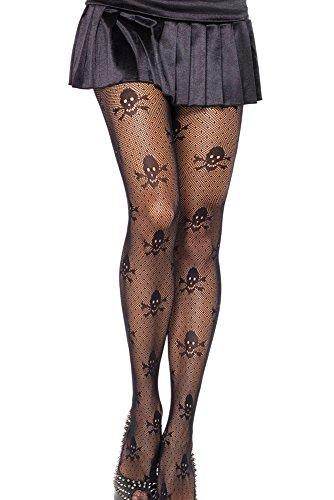 EROSPA® Netz-Strumpfhose - Damen - Totenkopfmuster Halloween Fasching Karneval - Schwarz