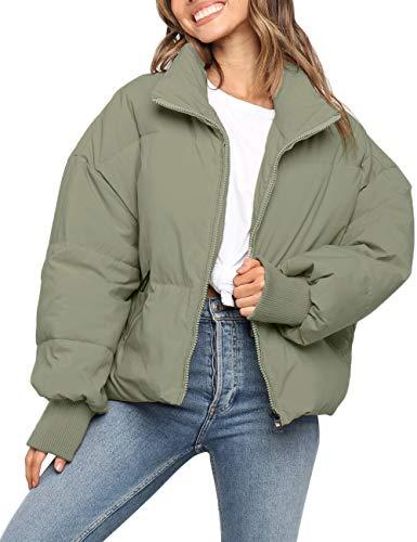 MEROKEETY Women's Winter Long Sleeve Zip Puffer Jacket Pockets Baggy Short Down Coats