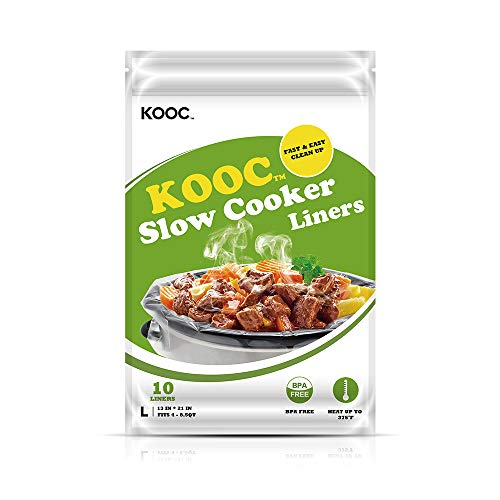 "[NEW] KOOC Disposable Slow Cooker Liners and Cooking Bags, 1 Pack(10 Counts), Large Size Crock Pot Liners Fit 4QT to 8.5QT, 13""x 21"", Fresh Locking Seal Design, Suitable for Oval & Round Pot, BPA Free"