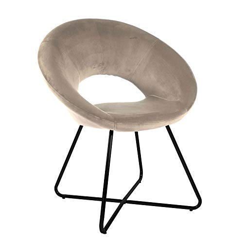 Sillón acolchado circular de terciopelo beige con patas de hierro negras. Sillón de oficina o comedor muy cómodo y asiento ergonómico 71 x 59 x 84 cm