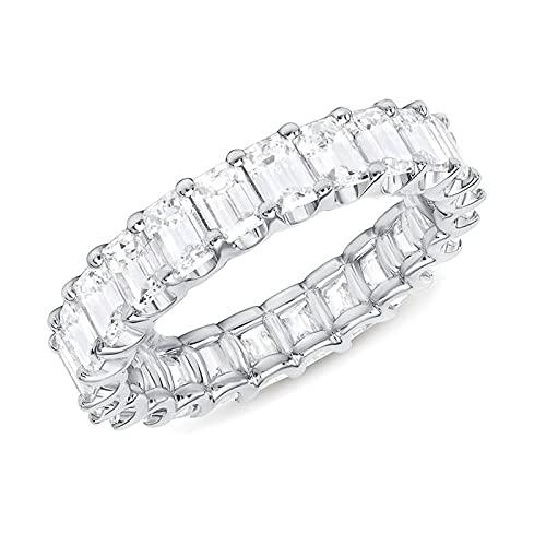 WDFGSA Luxury Micro Paved Square Cubic Zirconia Promise Anillos de Amor para Mujeres Compromiso Anillo de joyería de Boda (Main Stone Color : Silver Color, Ring Size : 10)