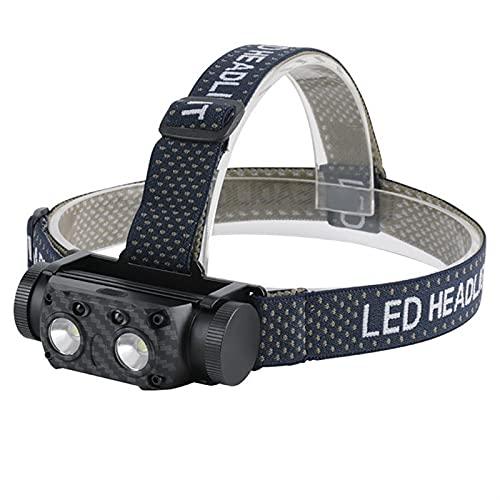 JJYGYTG Faro B34 XM-L2+2* COB LED faro sensor de movimiento 4000LM faro recargable impermeable cabeza antorcha camping caza (color emisor: B35)