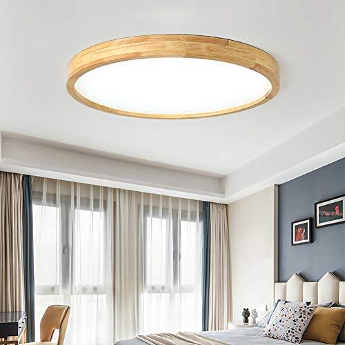 Madera LED Lámpara de Techo Moderna 30W regulable con control remoto Plafón...