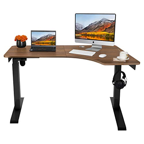 AuAg Electric Standing Desk L Shape, Height Adjustable L Desk, Stand up Corner Desk for Home Office, Corner Standing Desk for Gaming Working Studying - Vintage Brown