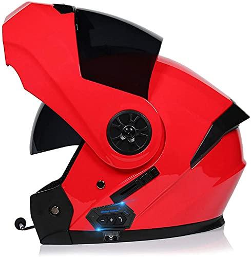 XLYYHZ Casco Bluetooth para Motocicleta, Casco Completo Modular con Visera Solar Doble Tipo abatible, Casco Certificado por Dot, Respuesta automática Manos Libres B, S = 55-56CM