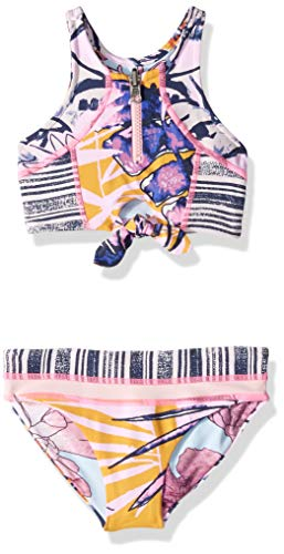 Maaji Girls' Little High Neck with Keyhole Bikini Swimsuit Set, Pineapple Sunset Pink Floral, 4