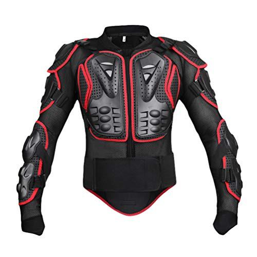 Yuanu Motorrad Schutzausrüstung Berg Reiten Skaten Snowboarden Brustpanzer Motorrad Ganzkörper-Rüstung mit Brust und Rücken Schutz Schwarz&Rot XL