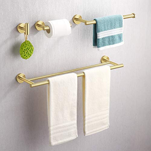 KES Brushed Brass Bathroom Hardware Set 4-Piece 24 Inch Double Towel Bar Toilet Paper Holder Hand Towel Holder Robe Hook No Drill Stainless Steel, LA20BZDG-43