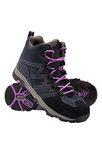 Mountain Warehouse Oscar Kids Walking Boots - Durable Childrens Hiking Shoes, Breathable Girls & Boys Footwear, Suede, Synthetic & Mesh Upper - for Camping & Trekking, Dark Purple, Kids Shoe Size 3 UK