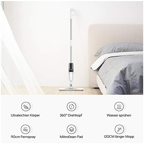 DEERMA Spray Mop for Hard Floor Cleaning with Microfiber Mop Pad Refills and 350ml Water Tank, 360° Rotation Flat Mop for Home Kitchen Hardwood Laminate Wood Ceramic Tile Floor, 8 FREE Mop Pad Refills