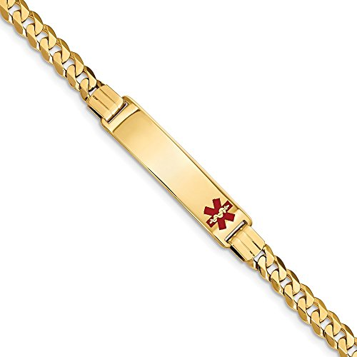 Best Birthday Gift 14K Medical Red Enamel Curb Link ID Bracelet