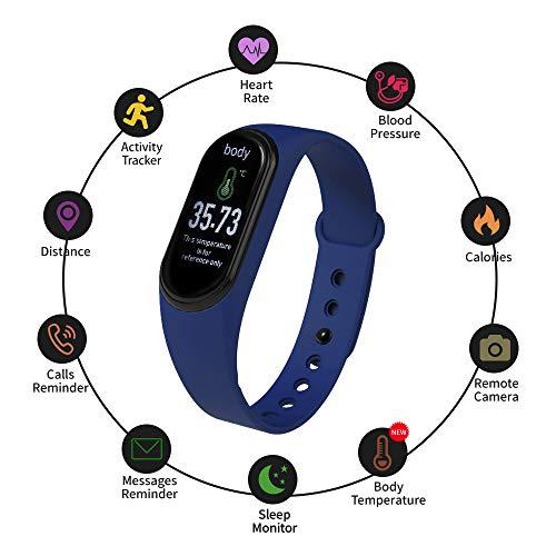 Reloj inteligente M4 Pro Pulsera inteligente Conexión BT Temperatura corporal Frecuencia cardíaca Monitor de presión arterial Rastreador de actividad 0.86in Pantalla Podómetro Monitor de sueño
