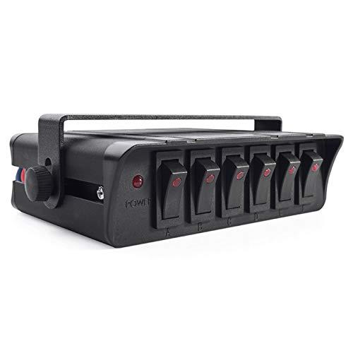 6 Caja de interruptores de Rocker Gang Universal para automóviles Vehículos Barcos 12-24V Panel de interruptores a prueba de agua 20A con indicador de luz LED Tablero de interruptores
