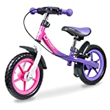 Lionelo Dan Plus Laufrad Kinder Fahrrad ab 2 Jahre für Junge Mädchen Balance Bike aus Stahl Kinderlaufrad mit Pedal Bremse Kotflugel Kinderlaufrad (Pink)