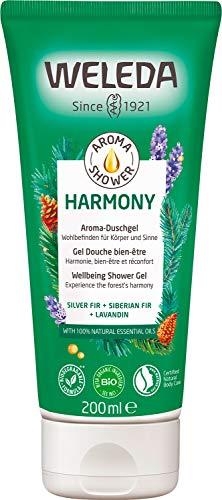 WELEDA Aroma Shower HARMONY – Besonderes Naturkosmetik Duschgel mit wohltuendem Duft wirkt wie ein tiefer Atemzug klarer Waldluft (1 x 200ml)