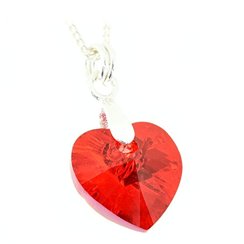 pewterhooter Sterling Silver Pendant. Sparkling Siam red Crystal from Swarovski. Gift Box. Made in The UK.