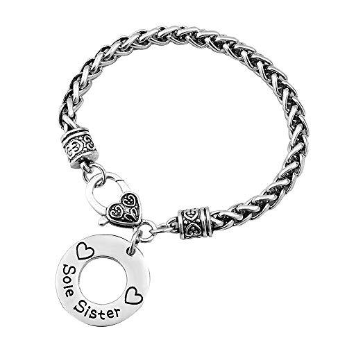 EV.YI Jewels Braided Silver Chain Best Friend Medical Alert Love Heart Charm Bracelet