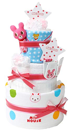 mikihouse(ミキハウス) 使用 おむつケーキ 出産祝い 名入れ刺繍 3段 日本製 オムツケーキ 今治タオル imabari towel ガーゼバスタオル ギフトセット 女の子向け パンパースパンツタイプLサイズ