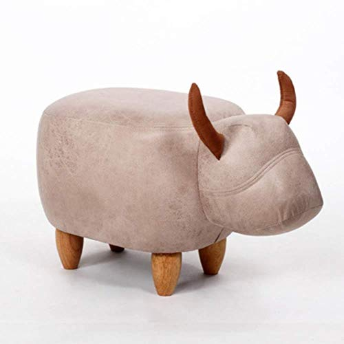 Thbeibei Bancos de almacenamiento de dibujos animados puf, reposapiés contenedor acolchado de piel animal reposapiés con reposapiés estante para zapatos con madera maciza