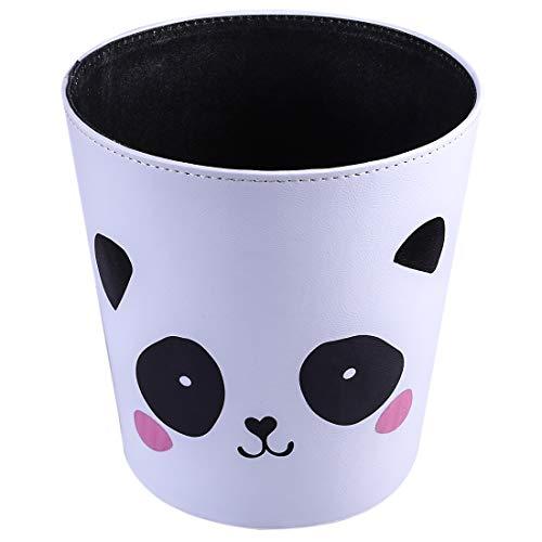 TETAKE Papierkorb Kinder mit Panda Motiv Papierkorb Büro 10L Leder Wasserdicht Abfalleimer für Kinderzimmer Mädchen und Jungen