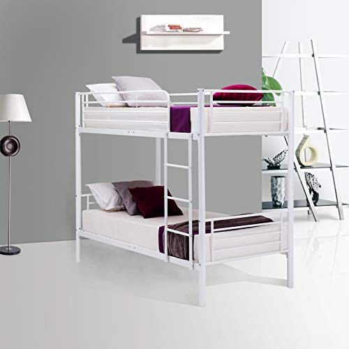 Mecor Twin Over Twin Bunk Beds - with Removable Ladder - for Kids/Teens/Adults/Children - Twin Over Twin/White