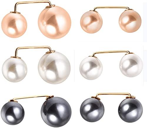 Broche de Perlas,6 Piezas de Clips de Chal Suéter,Suéter Chal Clips Broche,Broches de Perlas de Imitación Doble Cabeza,Pasadores de Seguridad para Mujeres (3 Colores)