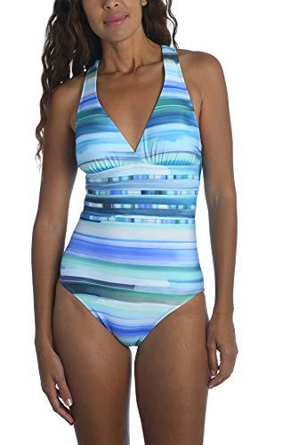 La Blanca Women's Multi Strap Cross Back One Piece Swimsuit, Pacific Blue//Ocean Tides, 6