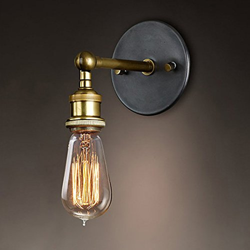 OurLeeme Luces de pared vintage, cabeza de cobre Lámpara de pared de metal industrial Cabeza de luz de latón retro ajustable con enchufe E27 para el hogar, restaurantes (bombillas no incluidas)