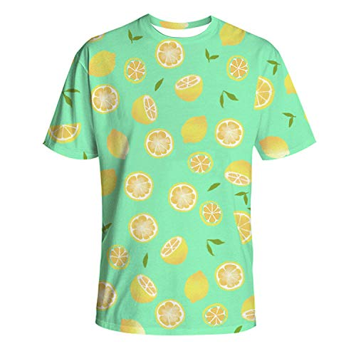 Kurzarm Rundhals Sweatshirt Lose Beiläufig EIS Zitrone T-Shirt Männer 3DT Shirt Kurzarm Rundhals Digitaldruck lässig Kurzarm-Color_4XL
