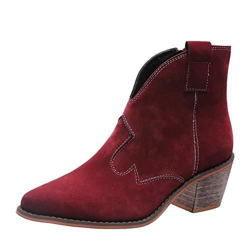 Dames Laarsjes Spitse Neus Lage Hak Rits Vrouwen Enkellaarsjes Mode Comfortabele Herfst Winter Boots,Red,39 EU